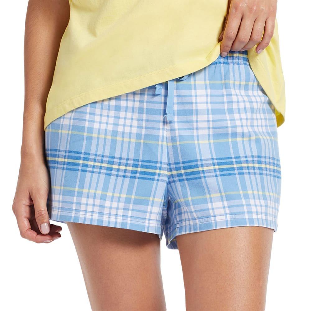 LIFE IS GOOD Women's Plaid Sleep Shorts - BLUE