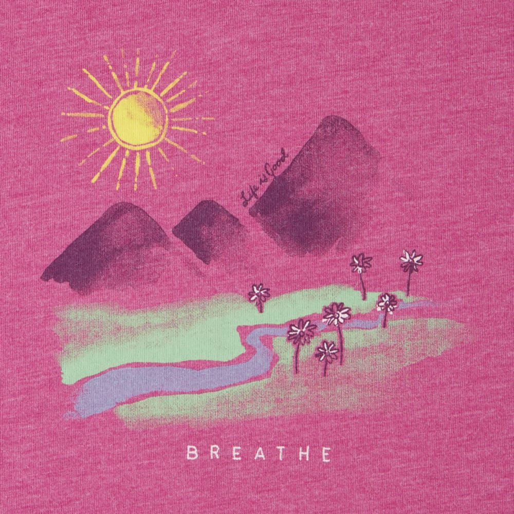 LIFE IS GOOD Women's Breathe in the Landscape Cool Vee Tee - SASSY MAGENTA