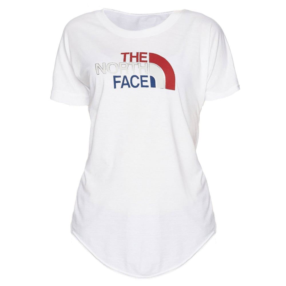 THE NORTH FACE Women's Americana Tri-Blend Track Short-Sleeve Tee - PF3-TNF WHITE HTR