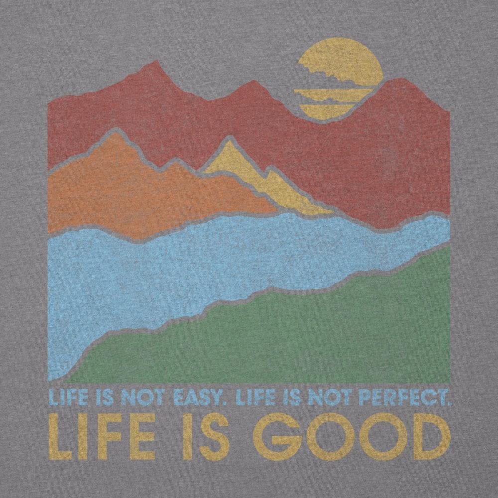 LIFE IS GOOD Men's Life Isn't Easy Mtn Cool Tee - SLATE GRAY