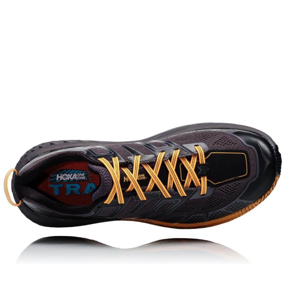 HOKA ONE ONE Men's Speedgoat 2 Trail Running Shoes - BLK/KUMQUAT - BKMQ