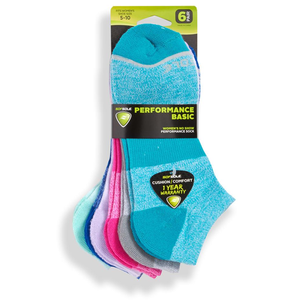 SOF SOLE Women's Performance Basic Marled No-Show Socks, 6-Pack - ASST