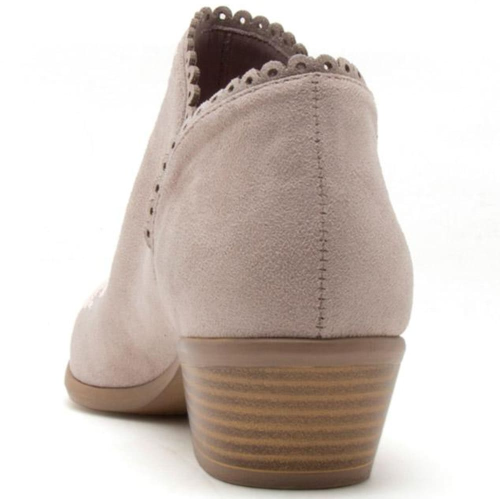 QUPID Women's Weekend-08 Scalloped Booties - TAUPE