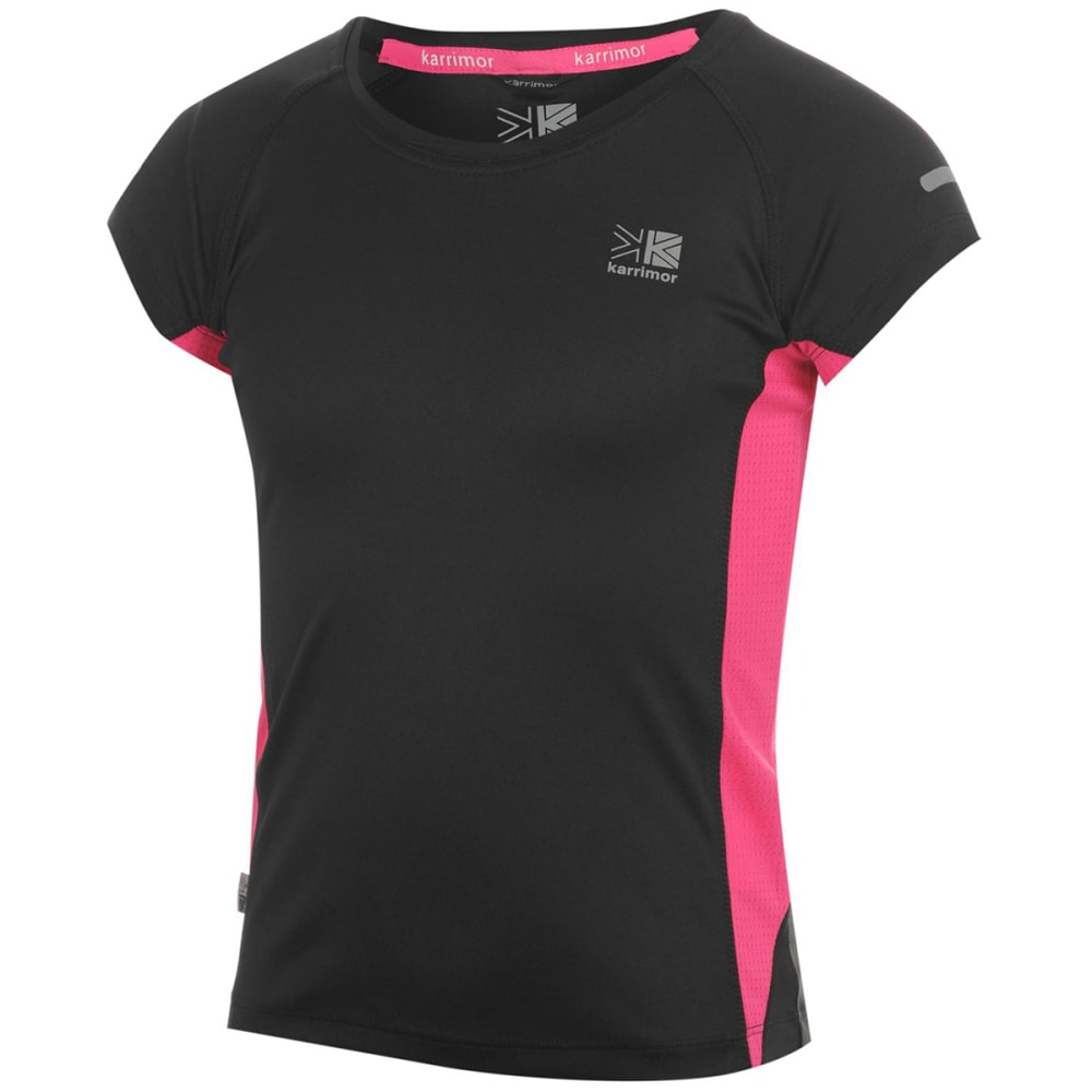 KARRIMOR Girls' Short-Sleeve Running Top - BLACK/PINK