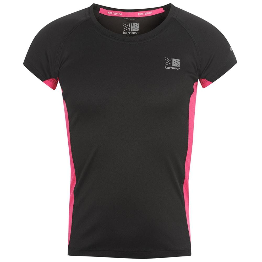 KARRIMOR Girls' Short-Sleeve Running Top - BLACK/PINK