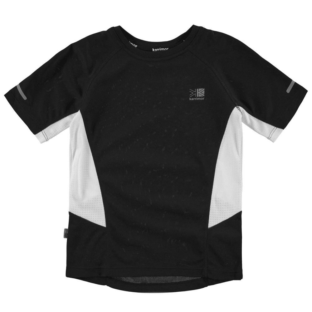 KARRIMOR Juniors' Short-Sleeve Running Top - BLACK/WHITE