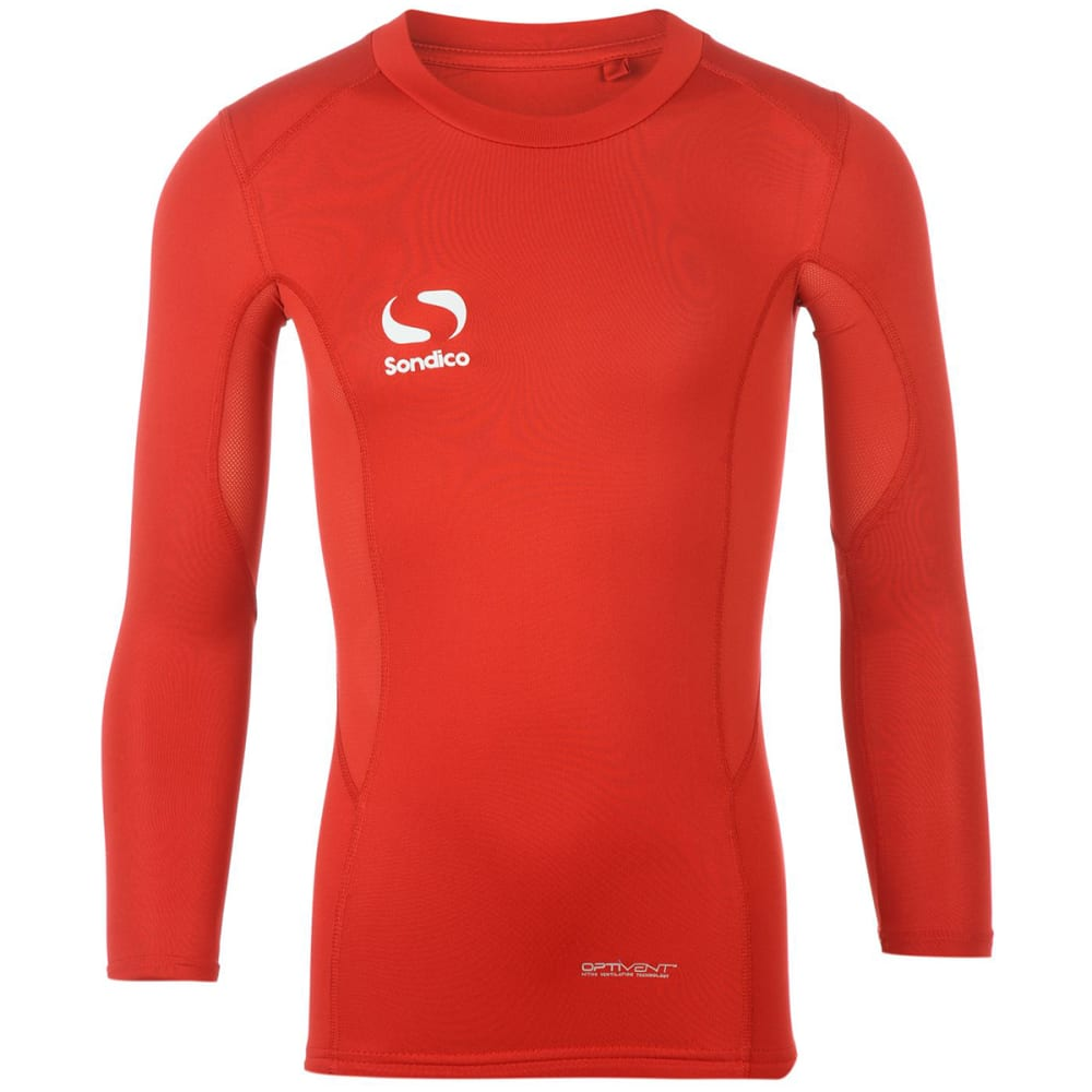 SONDICO Boys' Core Long-Sleeve Base Layer Top - RED