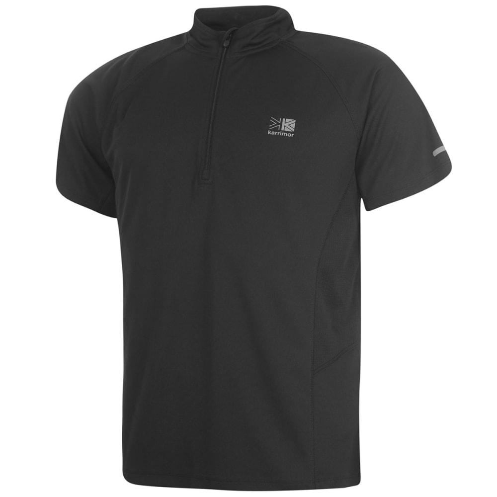 KARRIMOR Men's 1/4 Zip Short-Sleeve Tee - BLACK