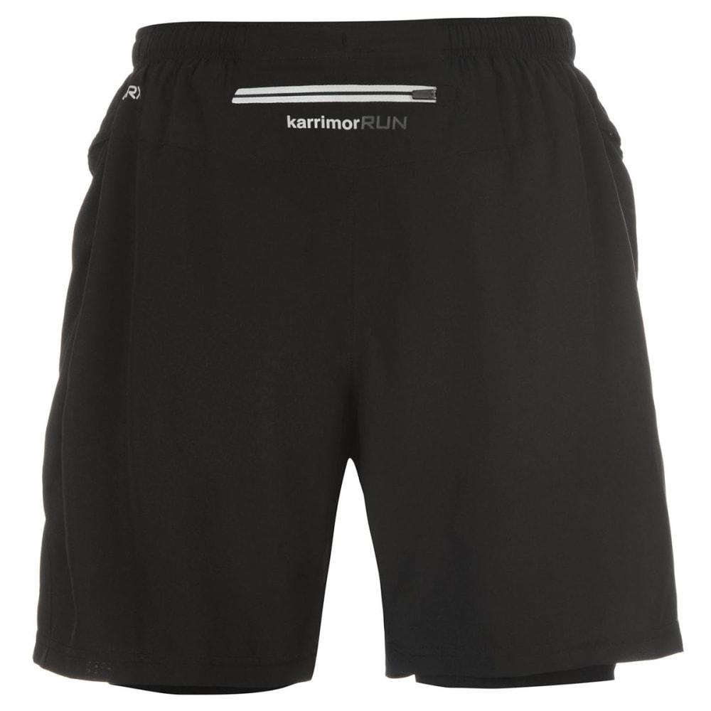 KARRIMOR Men's X 2-in-1 Running Shorts - BLACK/BLACK