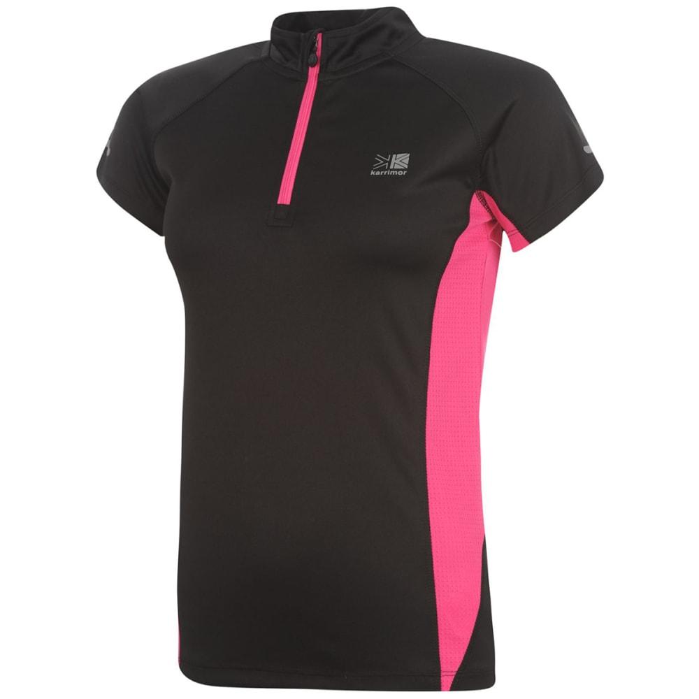 KARRIMOR Women's 1/4 Zip Short-Sleeve Tee - BLACK/PINK