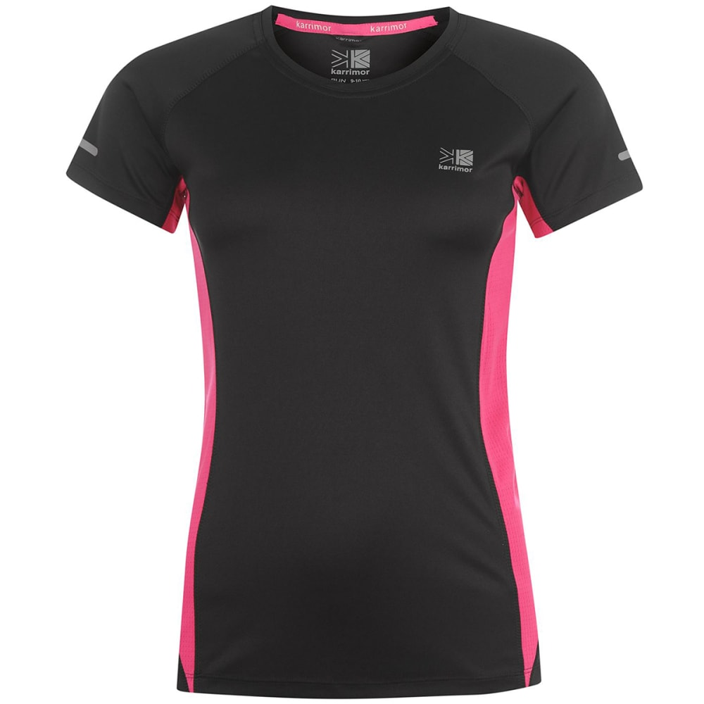 KARRIMOR Women's Run Short-Sleeve Tee - BLACK/PINK