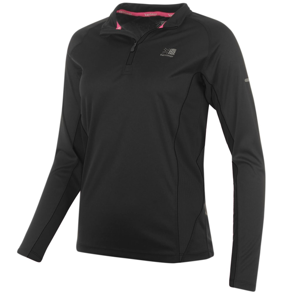 KARRIMOR Women's 1/4 Zip Long-Sleeve Top - BLACK