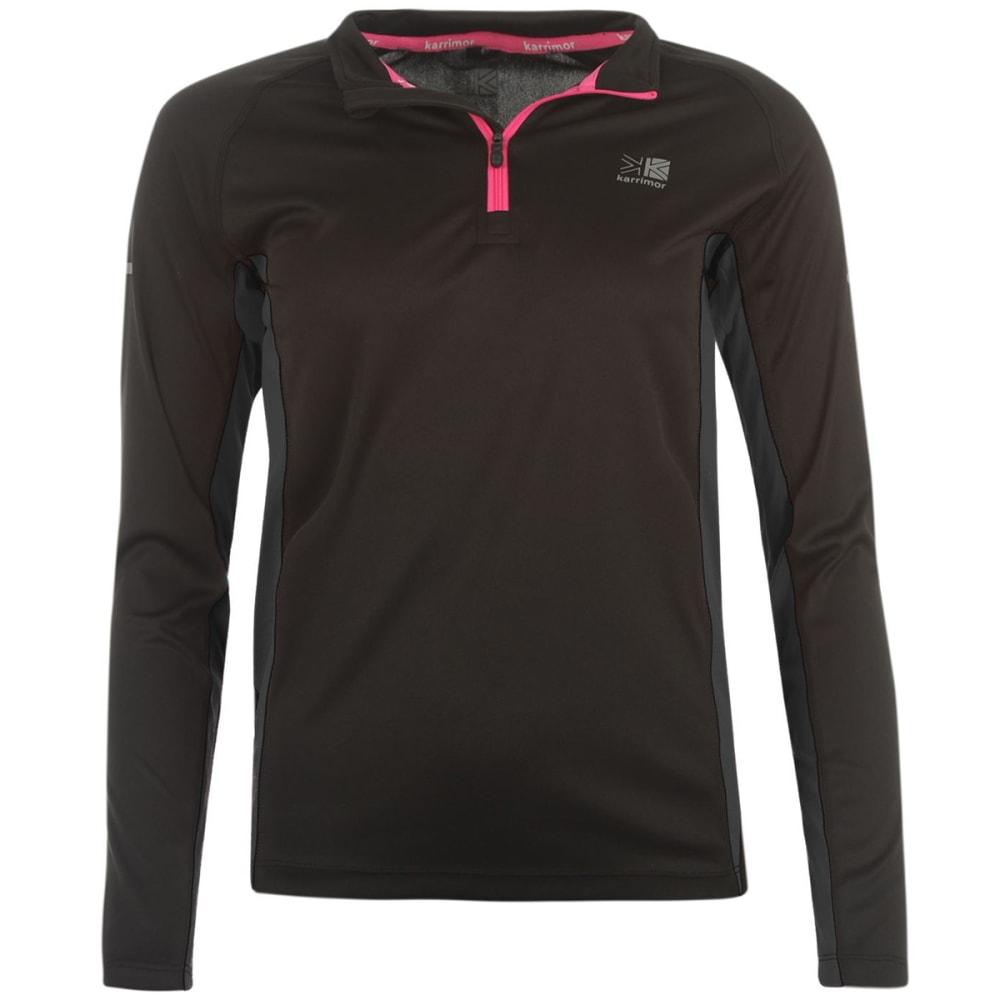 KARRIMOR Women's 1/4 Zip Long-Sleeve Top - BLACK
