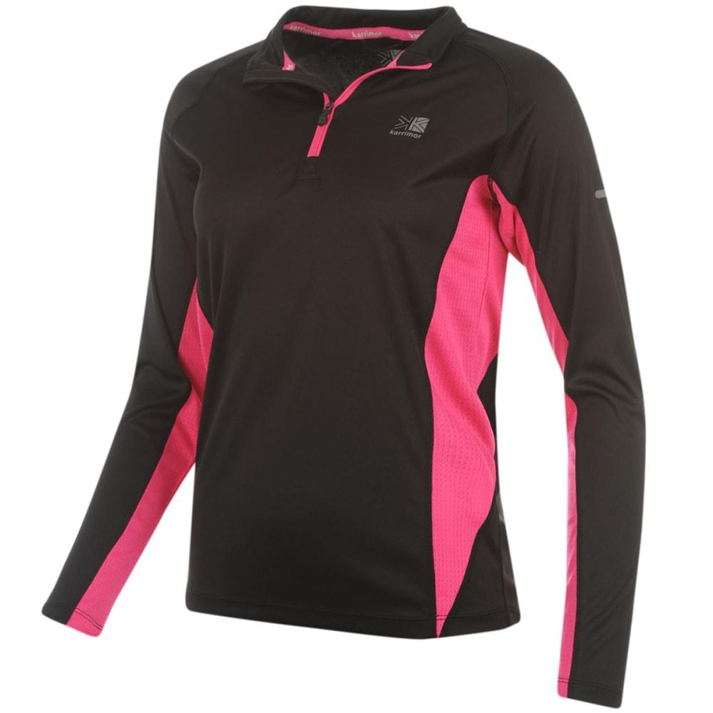 KARRIMOR Women's 1/4 Zip Long-Sleeve Top - BLACK/PINK