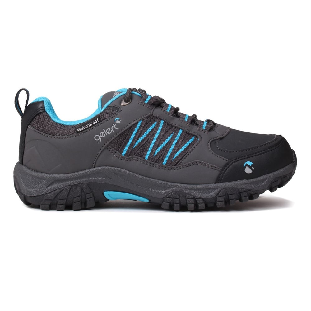 GELERT Kids' Horizon Low Waterproof Hiking Shoes - CHARCOAL/BLUE
