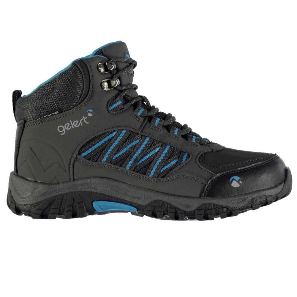 GELERT Kids' Horizon Mid Waterproof Hiking Boots - CHARCOAL/BLUE