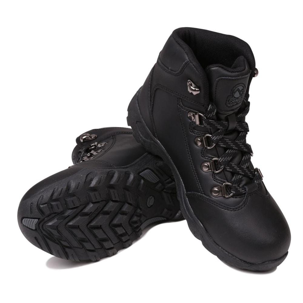GELERT Kids' Leather Mid Hiking Boots - BLACK