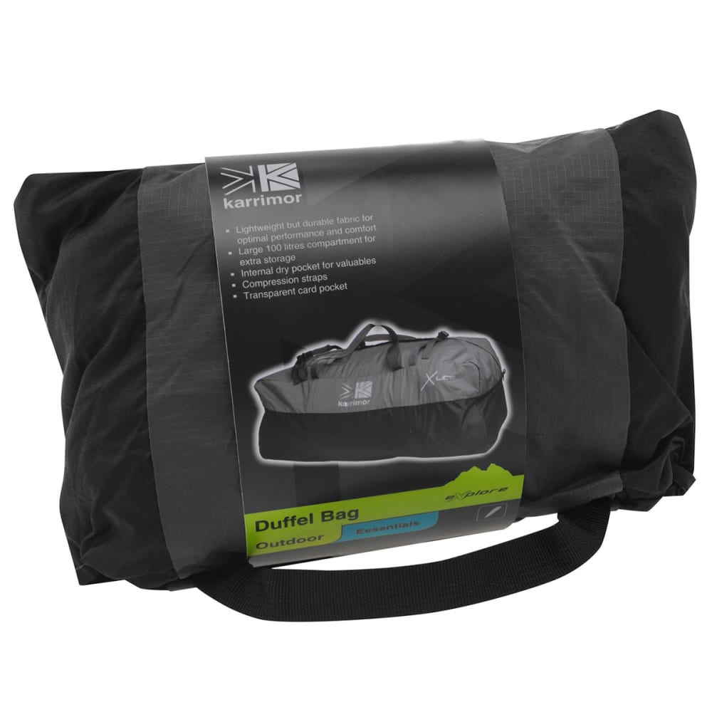 KARRIMOR Packable Duffle Bag - BLACK/CHARCOAL