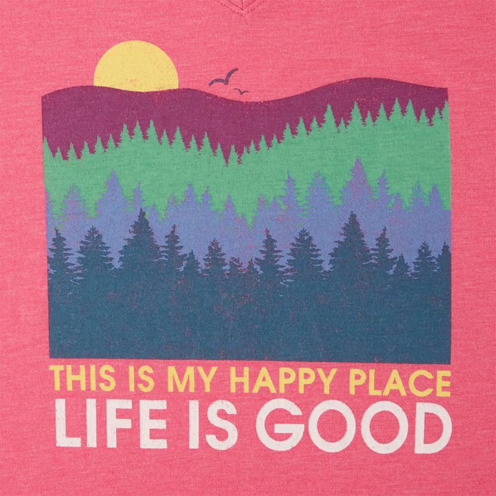 LIFE IS GOOD Women's Happy Place Trees Cool Vee Tee - FIESTA PINK