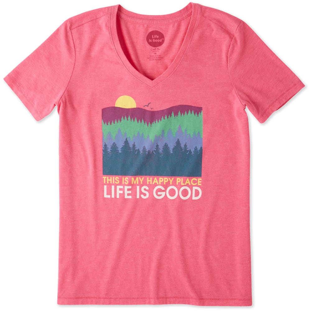 LIFE IS GOOD Women's Happy Place Trees Cool Vee Tee - FIESTA PINK