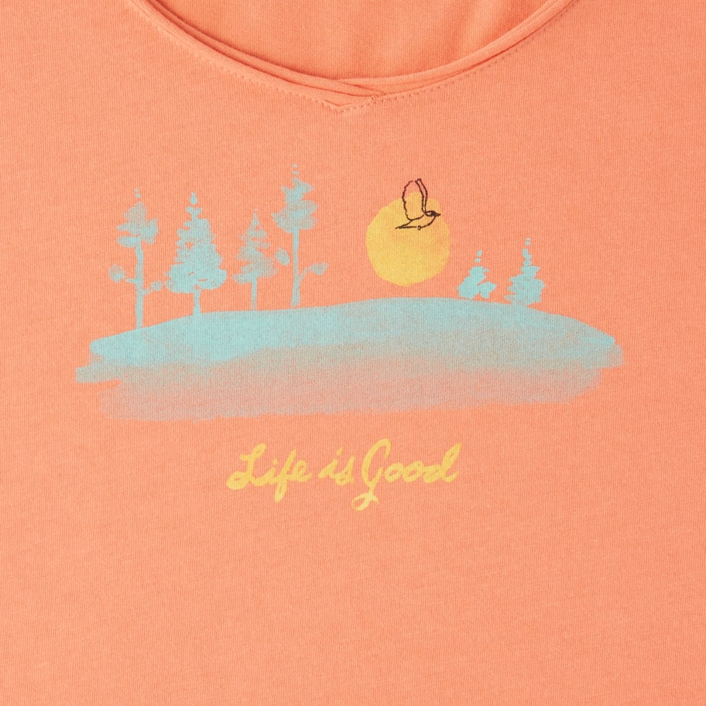 LIFE IS GOOD Women's Free Bird Landscape Smooth Tee - FRESH CORAL