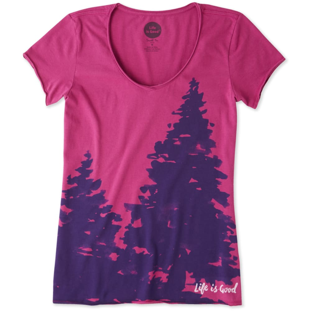 LIFE IS GOOD Women's Evergreen Smooth Tee - SASSY MAGENTA