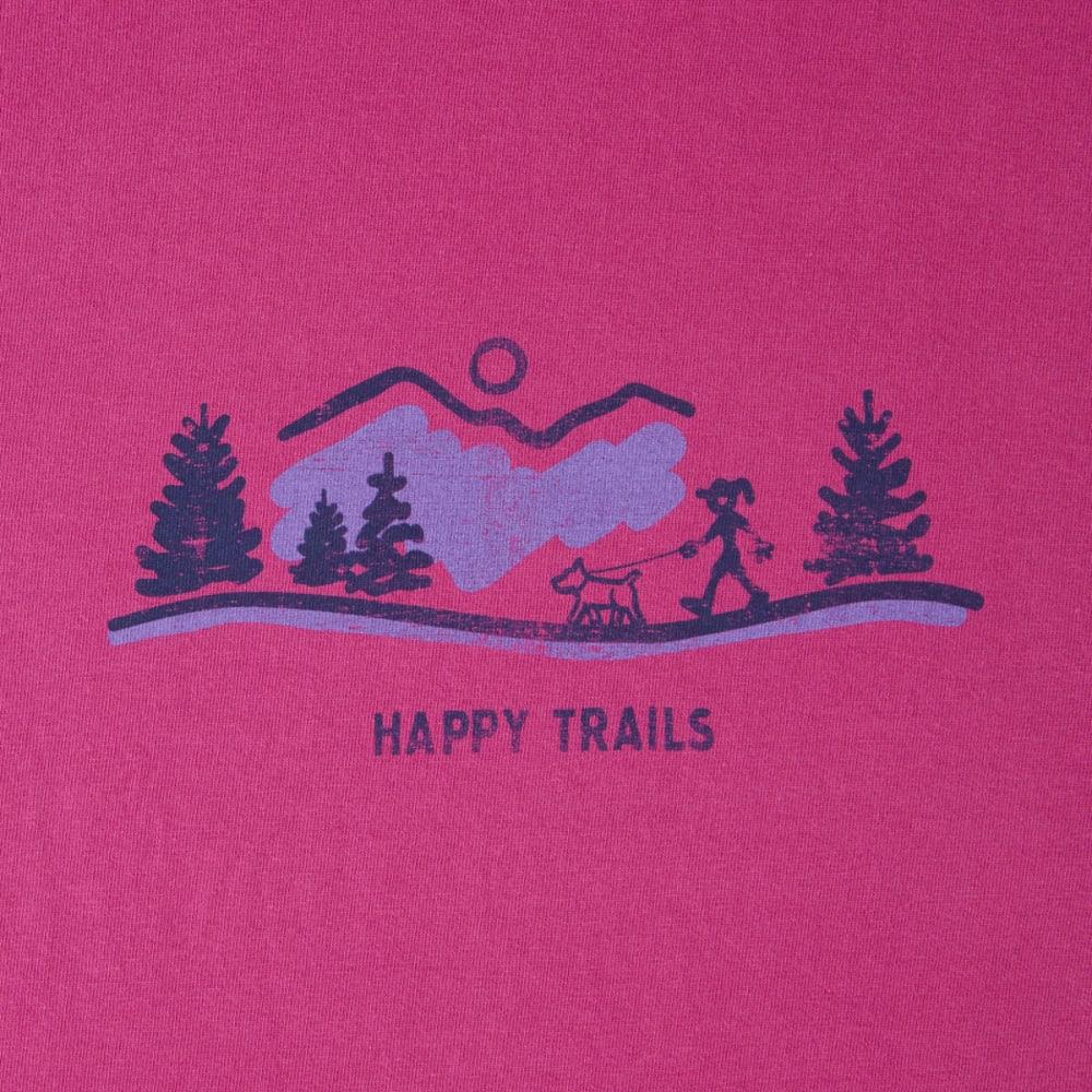 LIFE IS GOOD Women's Happy Trails Visit Crusher Tee - SASSY MAGENTA