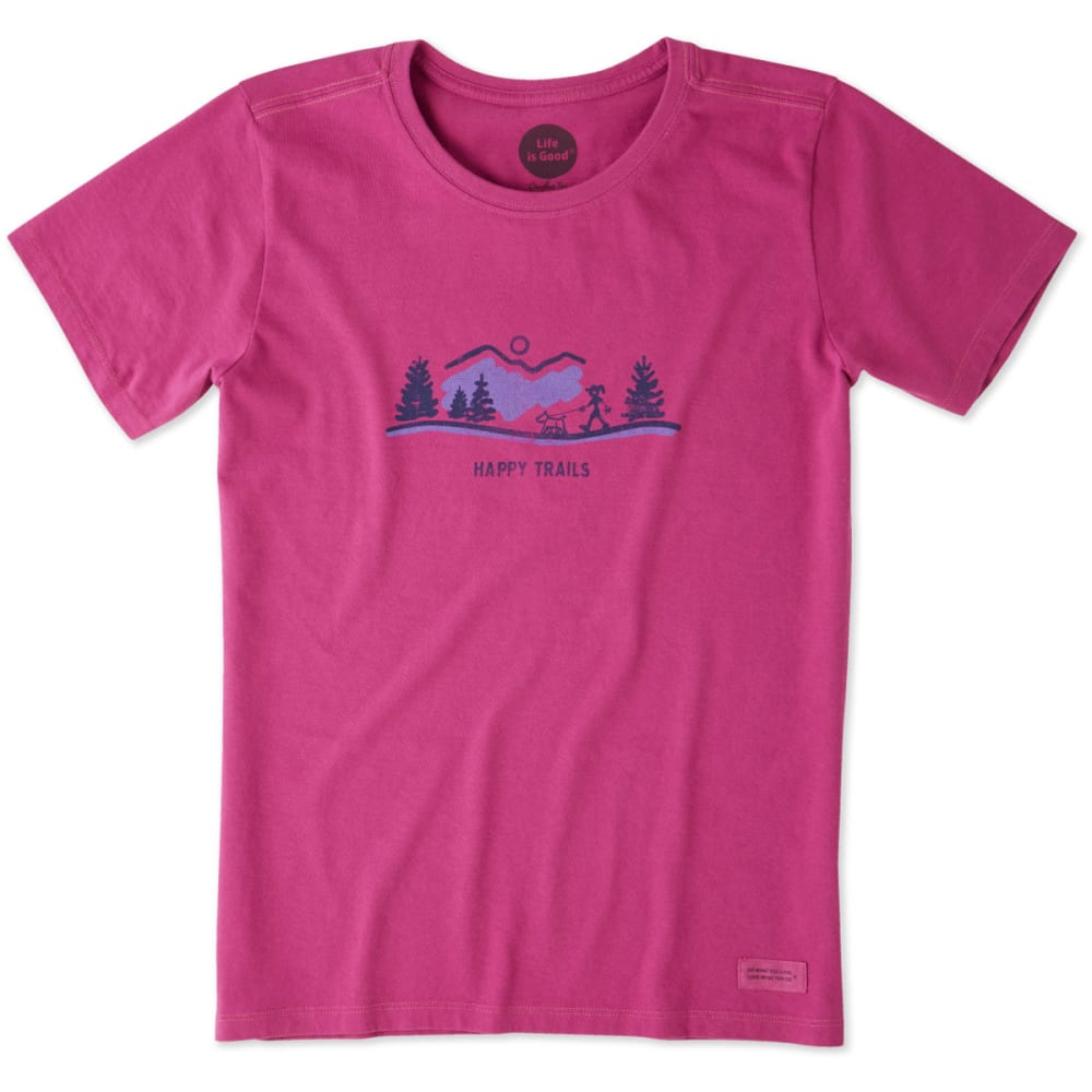 LIFE IS GOOD Women's Happy Trails Visit Crusher Tee - SASSY MAGENTA