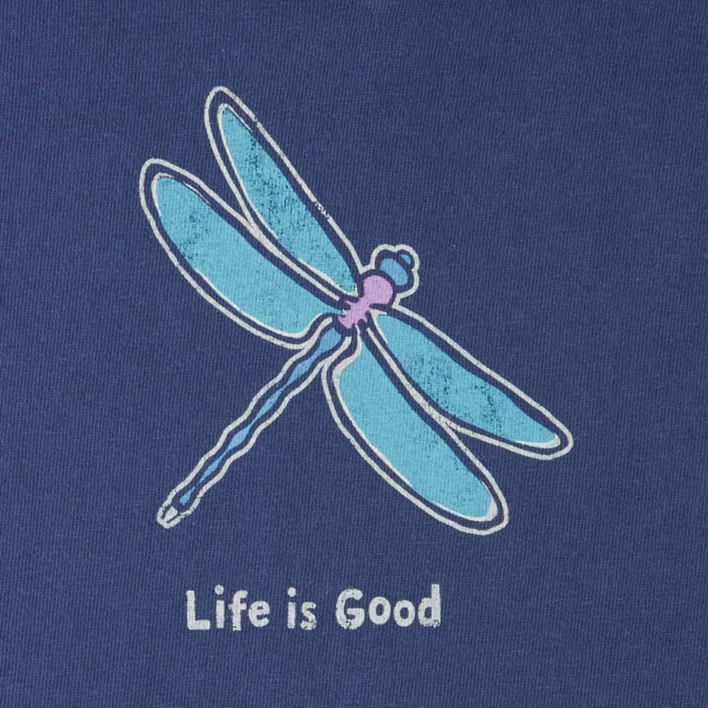 LIFE IS GOOD Women's Classic Dragonfly Crusher Vee Tee - DARKEST BLUE