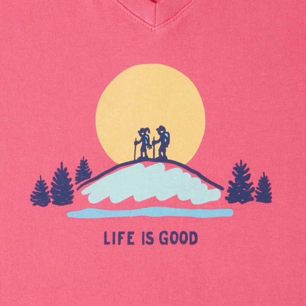 LIFE IS GOOD Women's Vista Hike Crusher Vee Tee - FIESTA PINK