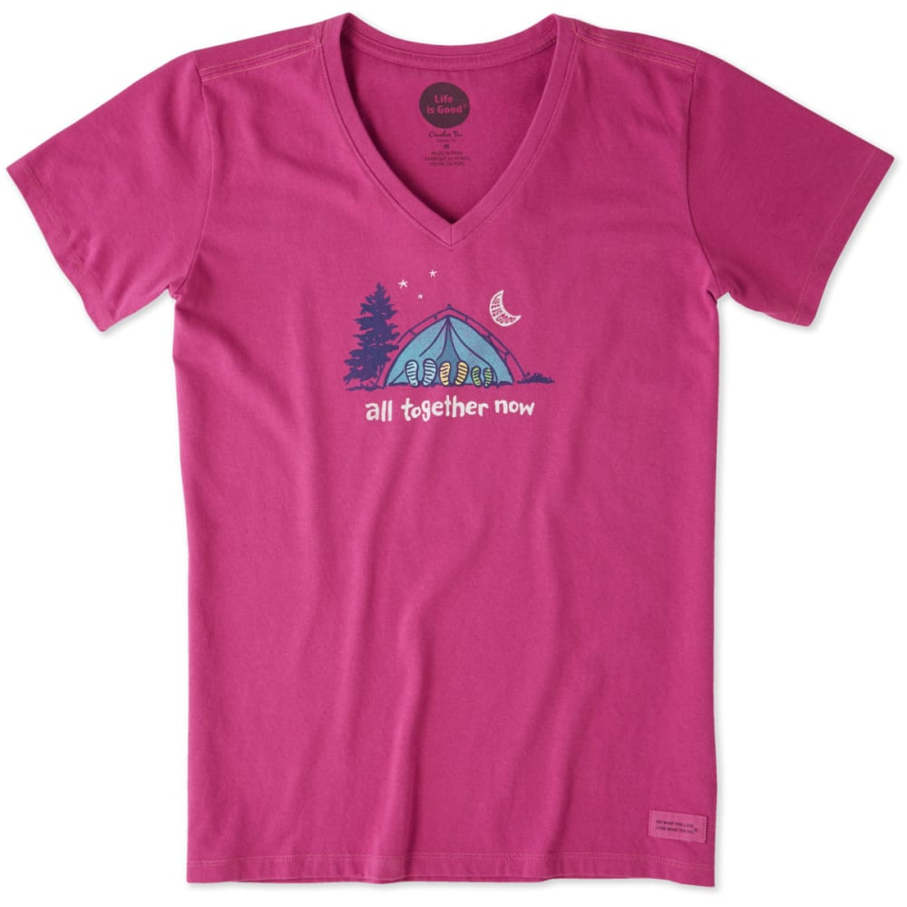 LIFE IS GOOD Women's All Together Now Crusher Vee Tee - SASSY MAGENTA