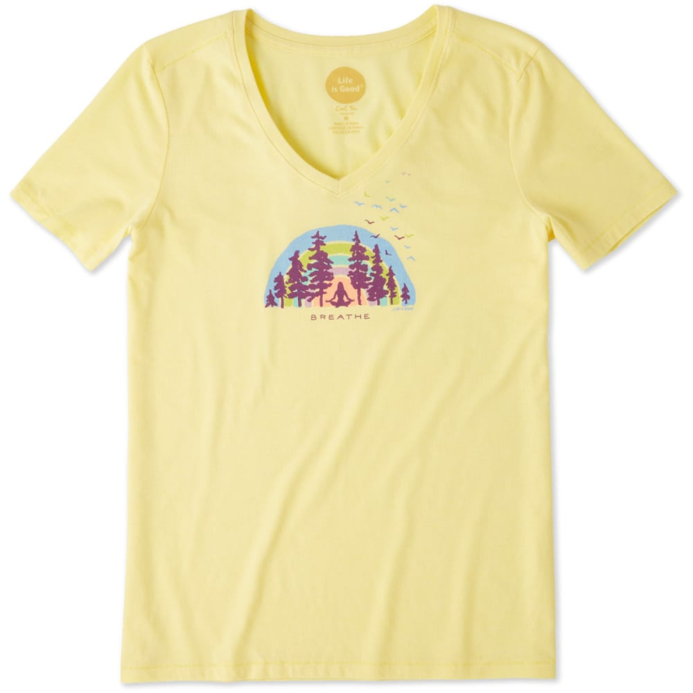 LIFE IS GOOD Women's Breathe Deep Cool Vee Tee - HAPPY YELLOW