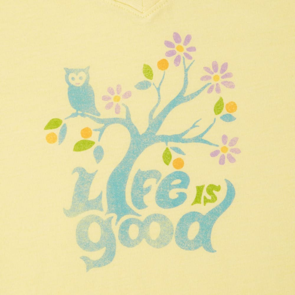LIFE IS GOOD Women's Happy Owl Cool Vee Tee - HAPPY YELLOW