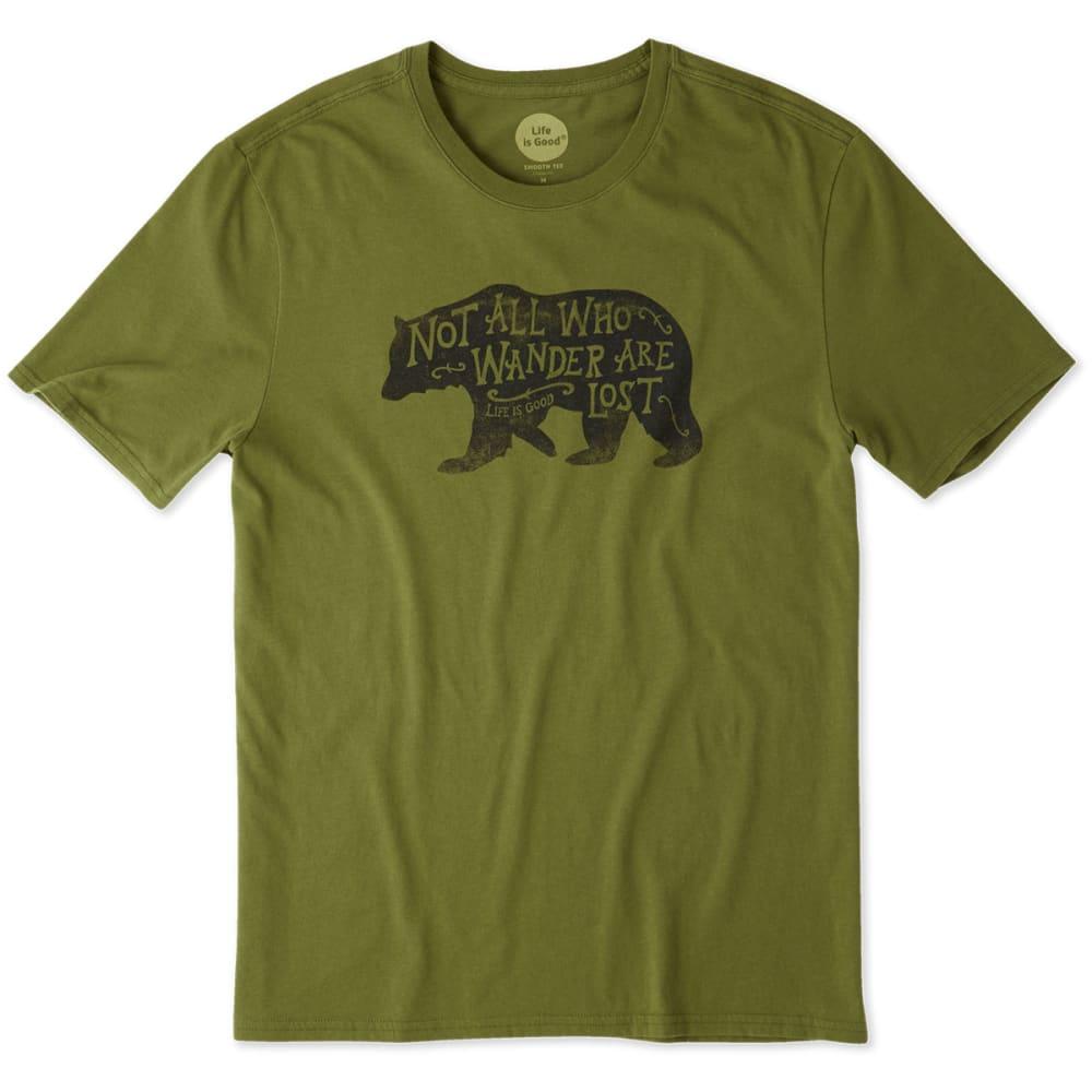 LIFE IS GOOD Men's Wander Bear Smooth Tee - TREE GREEN