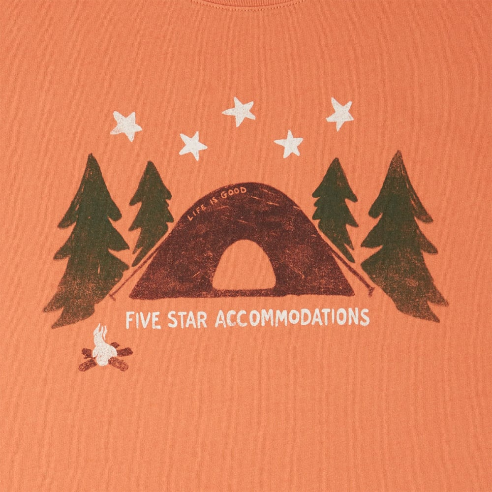 LIFE IS GOOD Men's Five Star Accommodations Smooth Tee - SANDY ORANGE