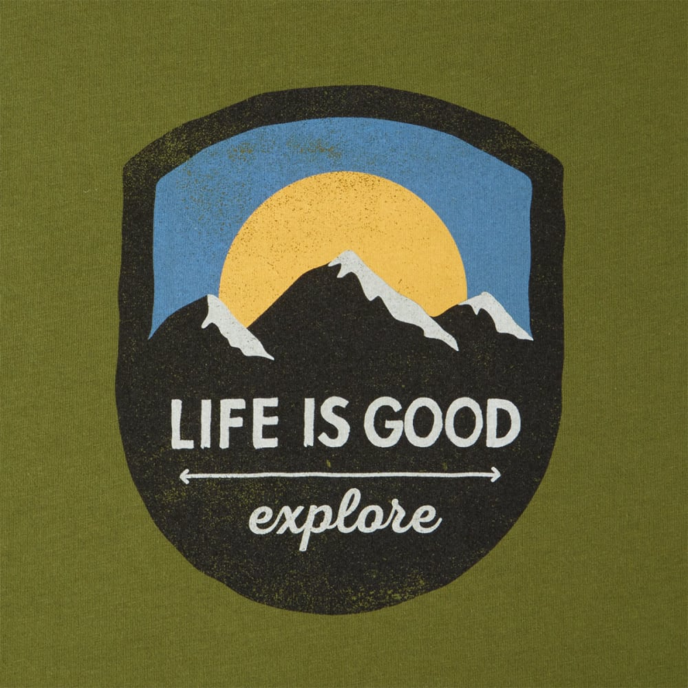 LIFE IS GOOD Men's Explore Mountain Smooth Tee - TREE GREEN