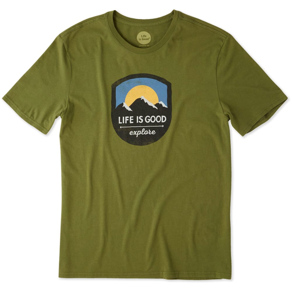 LIFE IS GOOD Men's Explore Mountain Smooth Tee - TREE GREEN