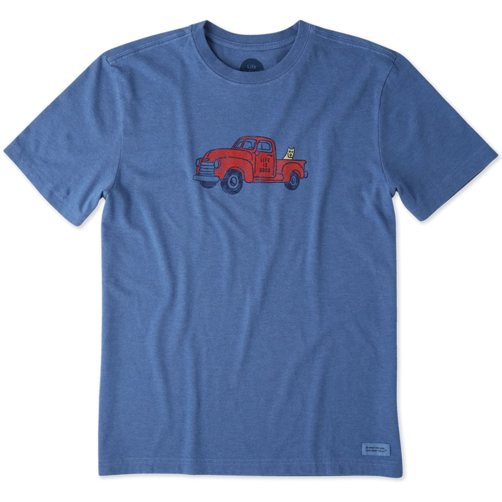 LIFE IS GOOD Men's Classic Truck Crusher Tee - HEATHER VINTAGE BLUE