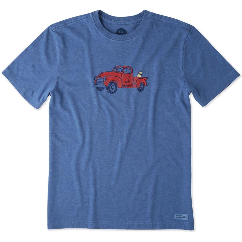LIFE IS GOOD Men's Classic Truck Crusher Tee - HEATHER VINTAGE BLUE