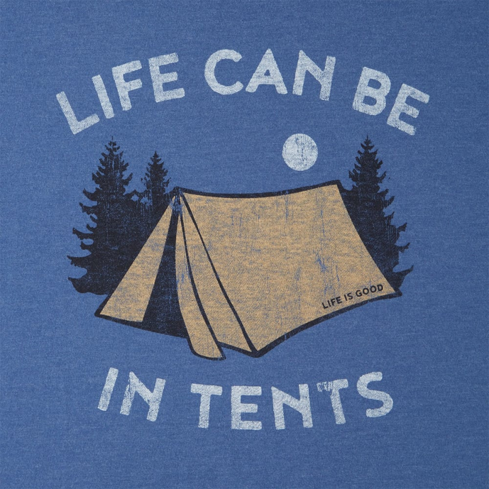 LIFE IS GOOD Men's Life Can Be In Tents Crusher Tee - HEATHER VINTAGE BLUE