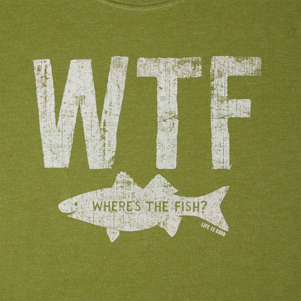 LIFE IS GOOD Men's WTF Where's The Fish Crusher Tee - HEATHER TREE GREEN