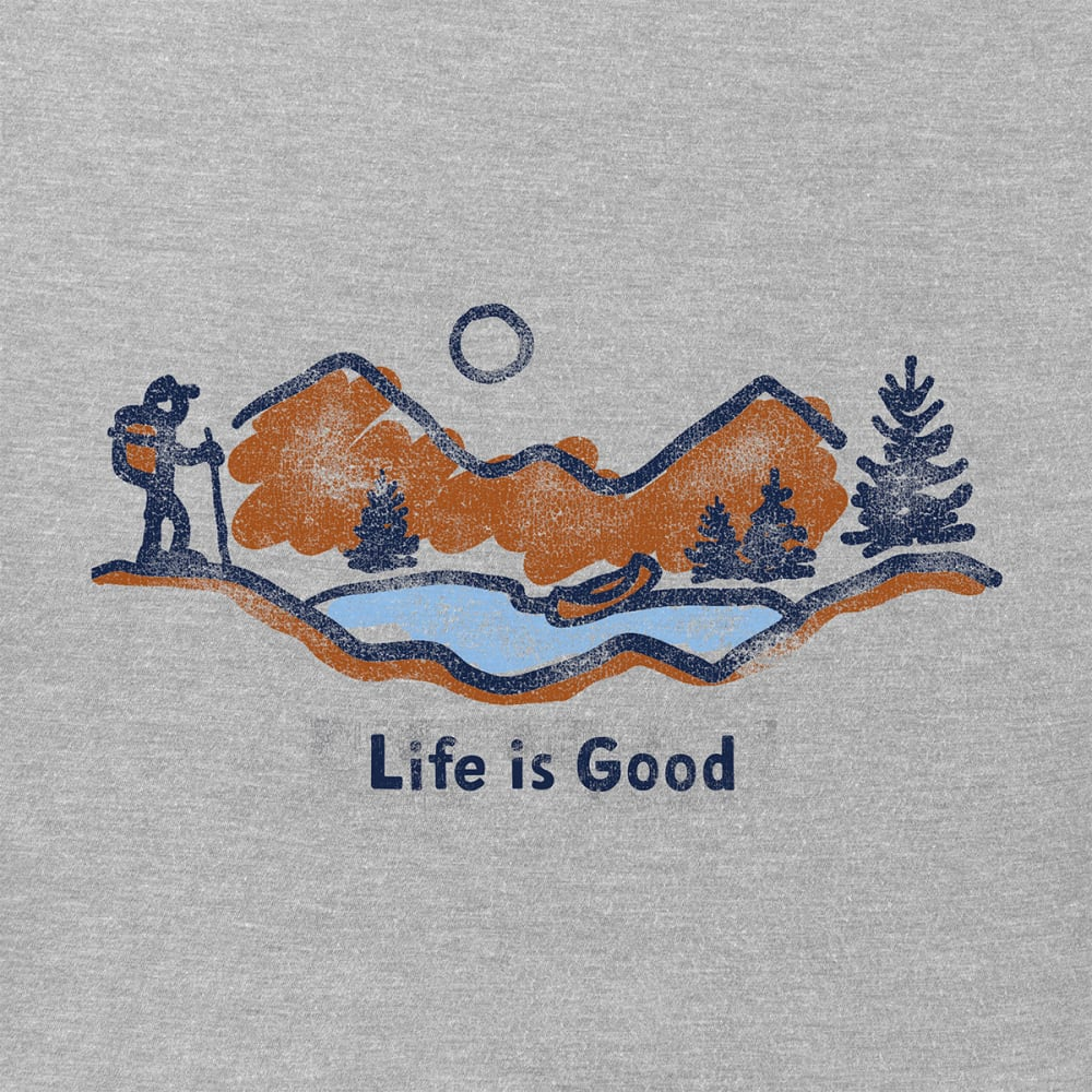 LIFE IS GOOD Men's Classic Hike Crusher Tee - HEATHER GRAY