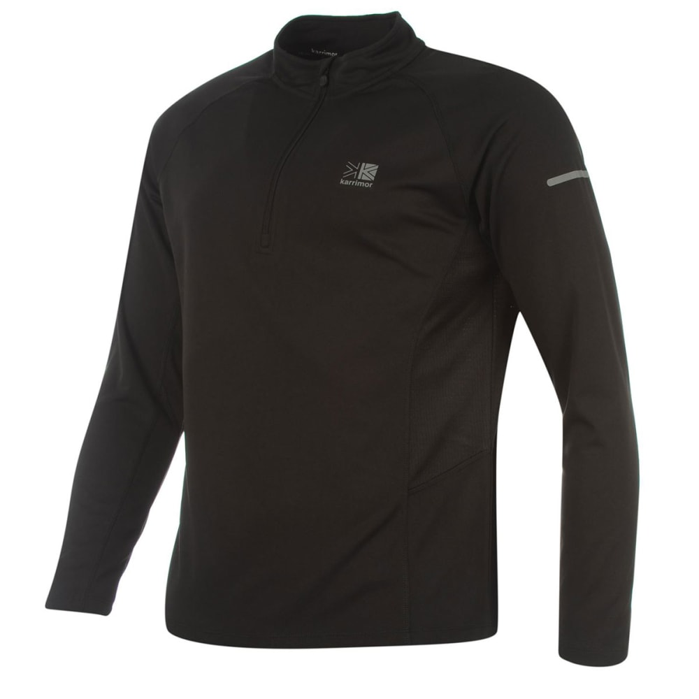 KARRIMOR Men's 1/4 Zip Long-Sleeve Running Top - BLACK