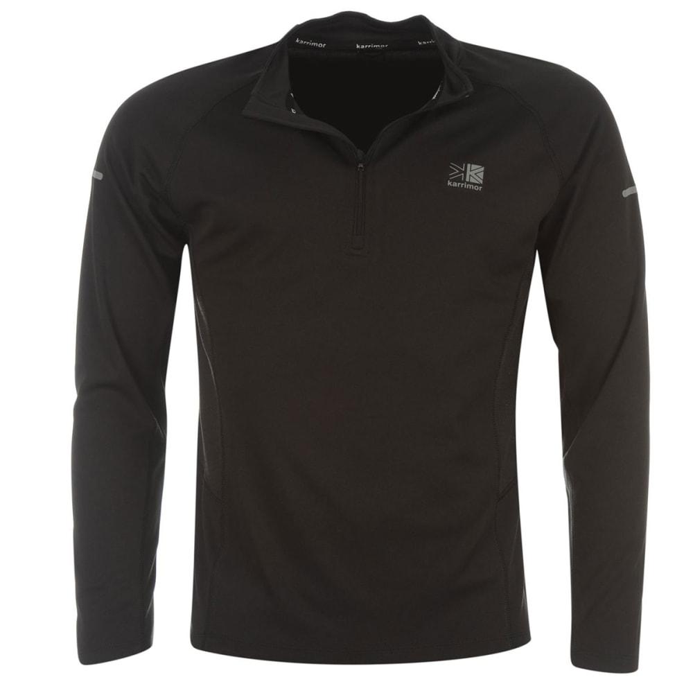 KARRIMOR Men's 1/4 Zip Long-Sleeve Running Top - BLACK