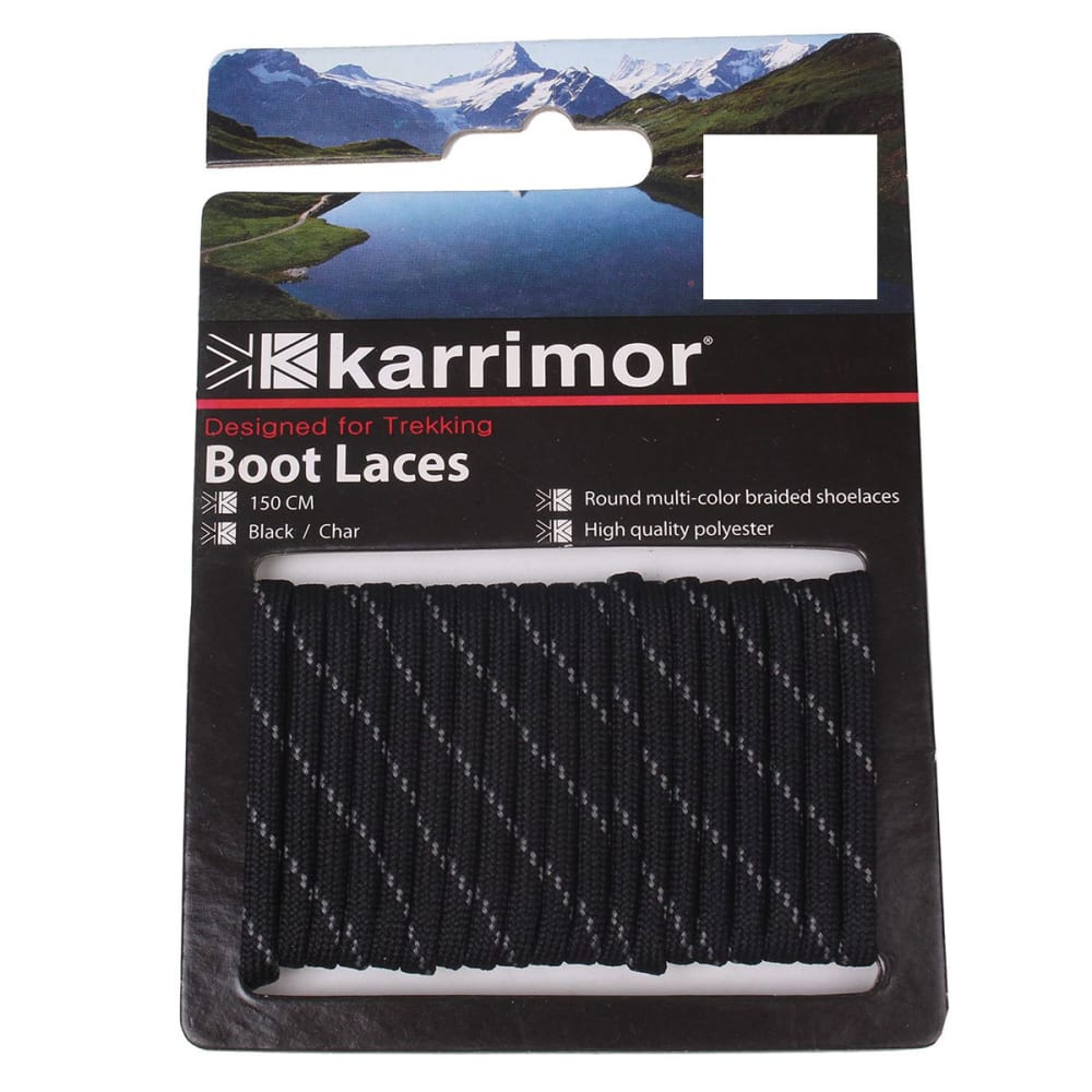 KARRIMOR Round Boot Laces - BLK /CHARCOAL 150 CM