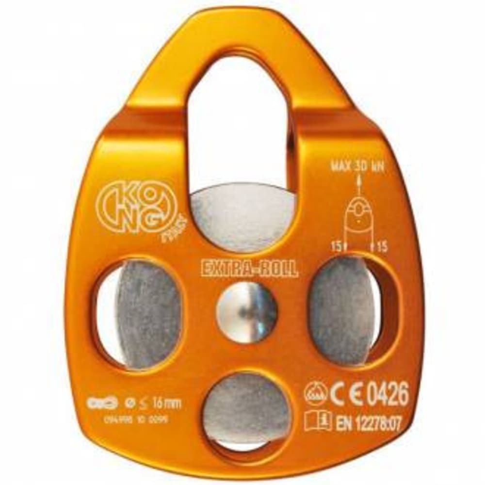 KONG Extra Roll Aluminum Pulley, Single Sheave - ORANGE