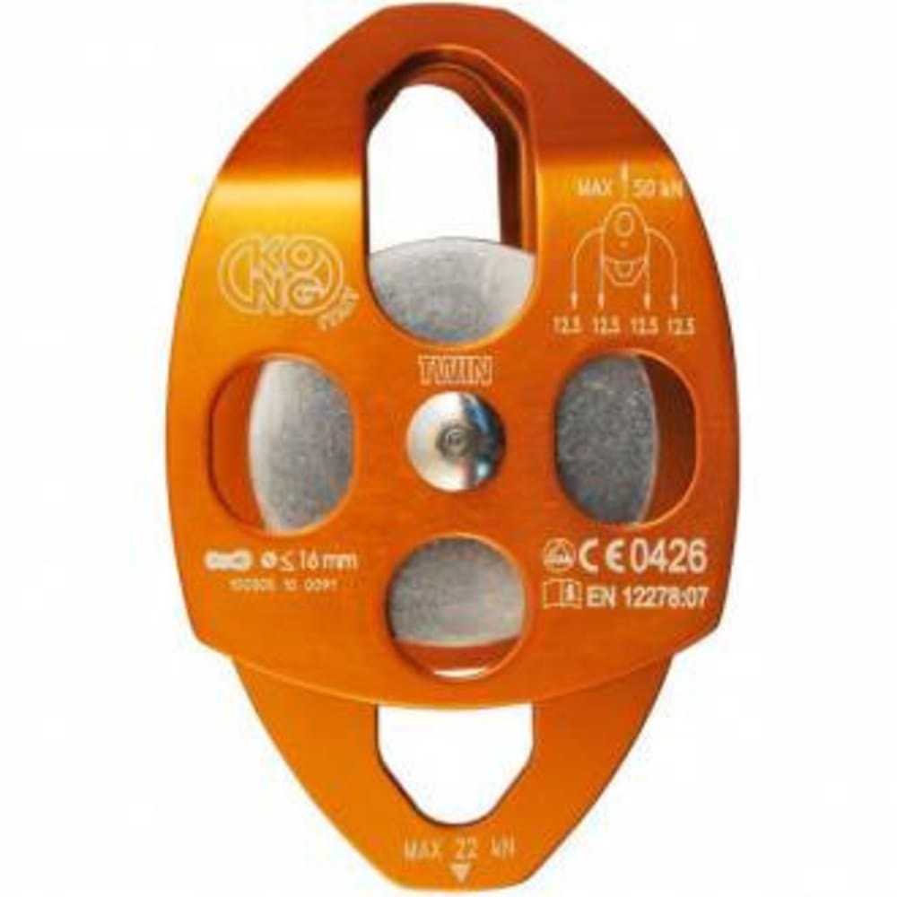 KONG Twin Aluminum Pulley, Double Sheave - ORANGE