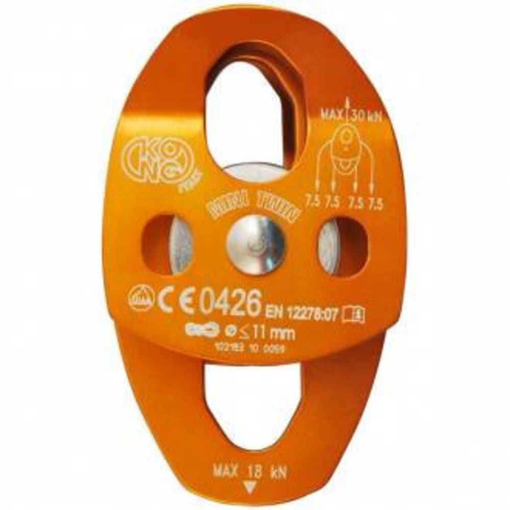 KONG Mini Twin Aluminum Pulley - ORANGE