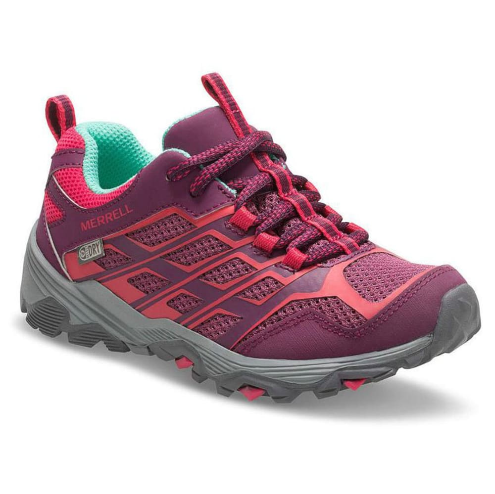 MERRELL Big Girls' Moab FST Low A/C Waterproof Hiking Shoes - BERRY