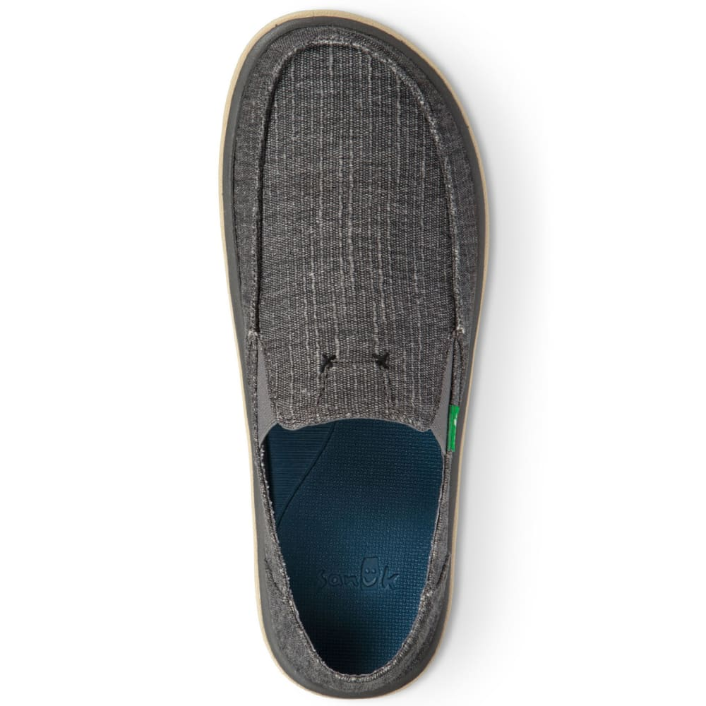 SANUK Men's Vagabond Tripper Grain Slub Casual Slip-On Shoes - CHARCOAL-CSLB